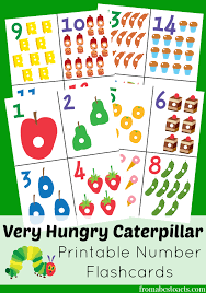 the very hungry caterpillar printable number flashcards number