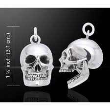 skull sterling silver pendant with movable jaw gothic skull jewelry