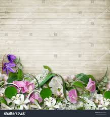 bouquet spring flowers on wooden vintage stock photo 620592062
