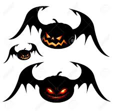 halloween clipart bat smiling halloween pumpkins with wings black isolated on white