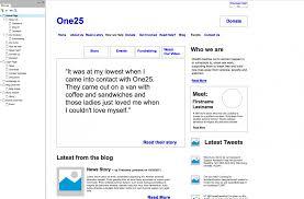 wordpress design and development for bristol charity one25