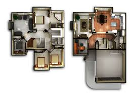 Two Bedroom House Floor Plans 2 Story 3d Home Plans With Nice Simple Bedroom House Design Floor