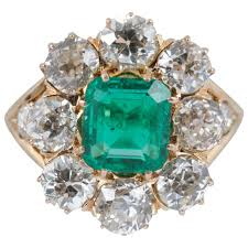 emerald jewelry rings images Late victorian emerald and diamond cluster ring for sale at 1stdibs jpg