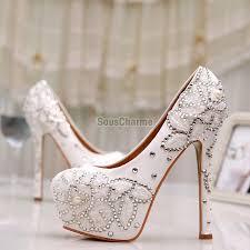 chaussure de mariage pas cher de mariée à talon aux broderies et strass chaussure