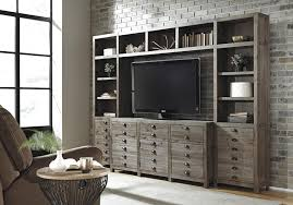 Gray And Brown Living Room by Rustic Gray Brown Pine Entertainment Wall Unit By Signature Design