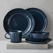 seam dinnerware set blue west elm