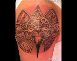 aztec sun god on shoulder tattooshunt com