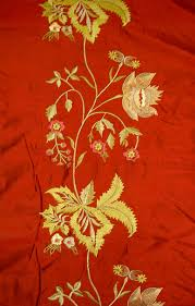 designer silk drapery home decor fabric embroidery borders ruby