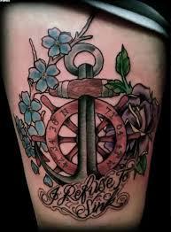 small blue flowers and ship wheel anchor tattoos tattooshunter com