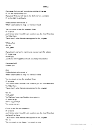 Bruno Mars Count On Me With Lyrics Count On Me Song Conditional Worksheet Free Esl