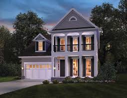 two story house plans with front porch ontario inspired narrow house plan the house designers