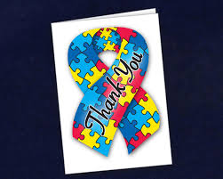 small autism ribbon thank you cards wholesale