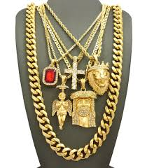 hip hop necklace charms images Hip hop jewelry 5 piece pendant set w various chain necklaces in jpg