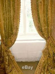 extraordinary antique silk damask curtains with tie backs
