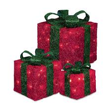 christmas tree with white lights and red bows pre lit led christmas gift boxes set of 3 red amazon co uk