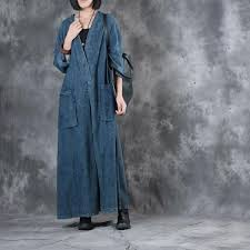 v neck plus size maxi dress front slit belted vintage denim dress