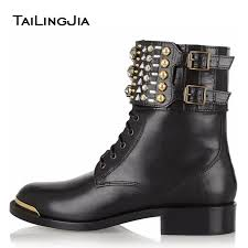 buy combat boots womens 2017 low heel ankle booties lace up studs combat boots