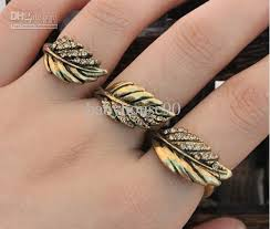 finger rings images images New diamond three finger rings high quality vintage leaf double jpg