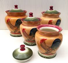 Rooster Canisters Kitchen Products Amazon Com Tuscan Sunshine County Rooster Hand Painted Canisters