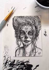 day of the dead orig aceo sketch card inked by