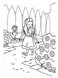 alice walking garden alice wonderland coloring