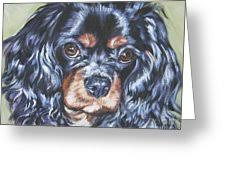 cavalier king charles spaniel black and greeting card for sale
