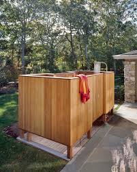 appealing reclaimed wooden pergola roofs with outside shower on