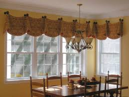 yellow pattern of straight valance in yellow wall paint interior