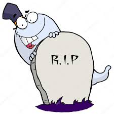 white halloween ghost looking around a tombstone u2014 stock photo