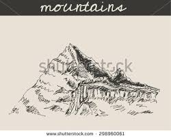 ice pointed mountain scenery sketch hand stock vector 287869265