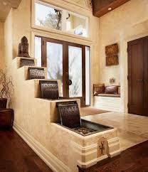 design zimmerbrunnen asiatisch zimmerbrunnen stufenartig wasserfall holz marmor foyer