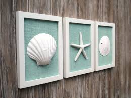 Beach Chic Home Decor Cottage Chic Set Of Beach Wall Art Sea Shells Home Decor