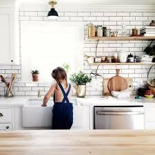 kitchen with subway tile backsplash white wood subway tile open shelving uooncus uocontest inside