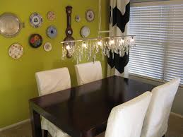Diy Dining Room Chandelier Vintage Diy Linear Chandelier With Plate Wall Eclectic