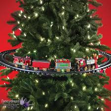 mounted christmas tree train festive light up sound animated home