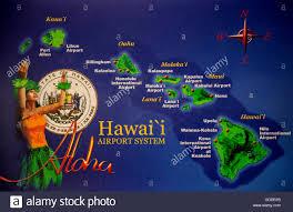 Molokai Map Honolulu Oahu Map Airports Usa Hawaii America Islands Isles Stock