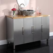 Stainless Steel Bathroom Vanity Cabinet 48 Mercutio Stainless Steel Vanity For Vessel Sink Brushed