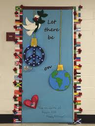 Classroom Door Christmas Decorations Peace On Earth High Christmas Door Decorating Contest Abc