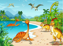 living on the beach dinosaurs living on the beach illustration royalty free cliparts