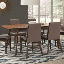 Dining Room Tables With Extension Leaves by Coaster 106591 Redbridge Walnut Tone Dining Table With Extension Leaf
