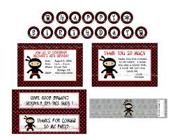 printable ninja birthday party kit banner cupcake toppers