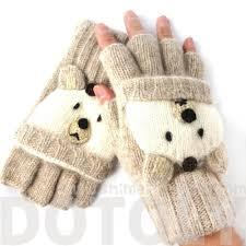 white teddy animal themed wool fingerless popover mitten