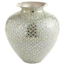 white u0026 silver mosaic vase short pier 1 imports