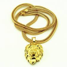 animal gold necklace images Wholesale hip hop big lion head pendant necklace animal king jpg
