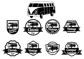 volkswagen hippie van clipart vw camper vector badges download free vector art stock graphics