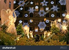 christmas decorations rockefeller center nyc stock photo 7642129
