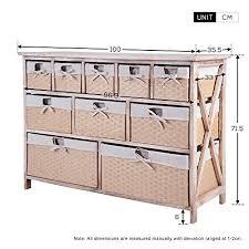 Bathroom Basket Drawers Life Carver Fully Assembled 10 Drawer Baskets Wide Functional