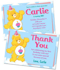 care bears birthday party invitation and thank you note combo