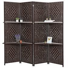 amazon com dark brown wood 4 panel paper woven screen