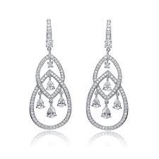 teardrop chandelier earrings c z sterling silver rhodium plated teardrop chandelier